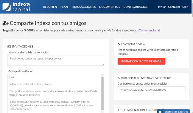 Indexa - Invitar a un amigo